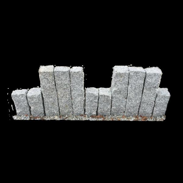 palisady granitowe surowo-łupane szare