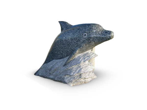 Skulptur granit delphin
